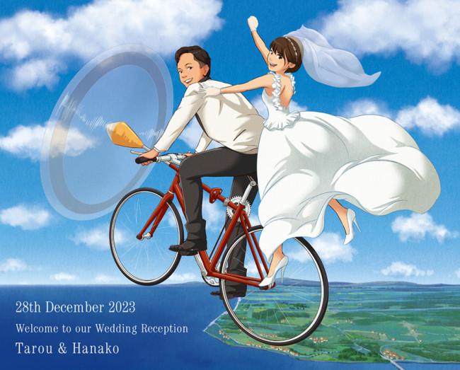 プロペラ自転車に乗って空を飛ぶ新郎新婦
